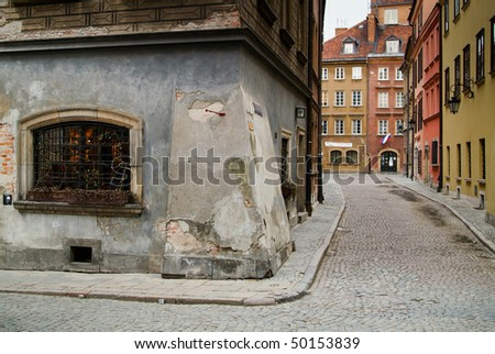 Tenement house at Warsaw's Old City - stock photo