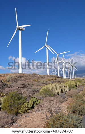 TENERIFE, CANARY ISLANDS - JANUARY 25, 2012: Modern wind power generators in an area south of the coast of the island
