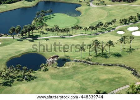 TENERIFE, CANARY ISLANDS - SEPTEMBER 01, 2006: Aerial view of golf course Abama in southern Tenerife