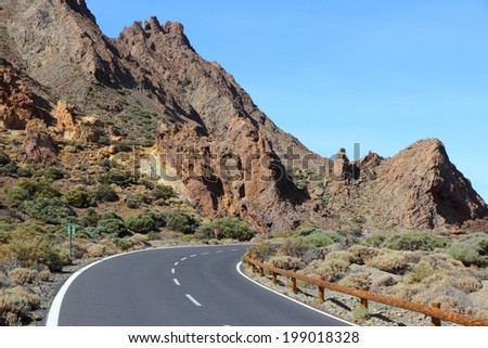 Tenerife, Canary Islands, Spain - volcanic Teide National Park, UNESCO World Heritage Site. Road bend.