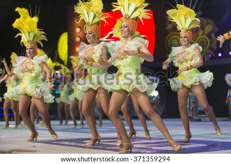 TENERIFE, JANUARY 30: Group in The carnival the Santa Cruz de Tenerife, during different contests of Carnival groups. JANUARY 30, 2016, Tenerife (Canary Islands) Spain.