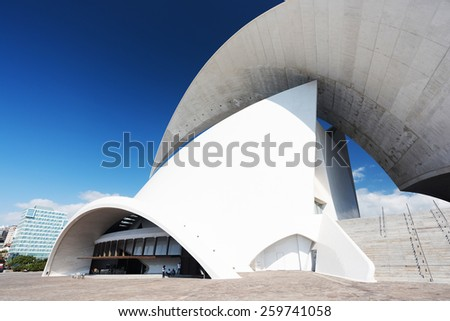 TENERIFE, SPAIN: NOVEMBER 23, 2014: Auditorio de Tenerife in Tenerife, Spain. It was designed by architect Santiago Calatrava Valls and opened in 26 September 2003. - stock photo