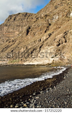 Tenerife. The Cliffs of Los Gigantes. View of the famous tourist attraction on Tenerife. Los Gigantes, the Giants.