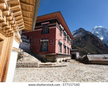 Tengboche gompa with Mount Everest and Lhotse - the best Buddhist Tibetan Monastery in Khumbu, Mont Everest region, Nepal. Sagarmatha National Park - stock photo