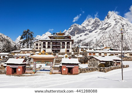 Tengboche Monastery in Tengboche, Everest region, Nepal - stock photo