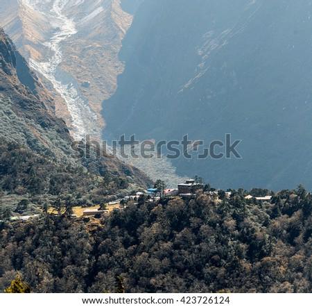 Tengboche monastery on the backdrop of the Kantega-to-Thamserku mountain massif - Nepal, Himalayas - stock photo