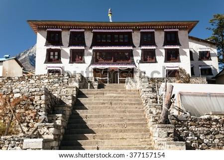 Tengboche Monastery, the best monastery in Khumbu valley, trek to Everest base camp, Sagarmatha national park, Nepal - stock photo