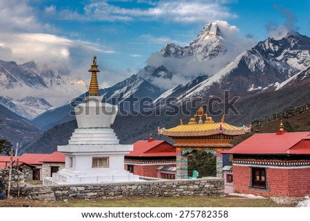 Tengboche Monastery with Mt. Amadablam, Everest base camp trekking, Nepal - stock photo