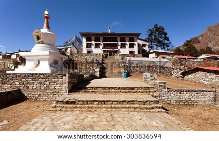 Tengboche Monastery with stupa, the best monastery in Khumbu valley, trek to Everest base camp, Sagarmatha national park, Nepal - stock photo