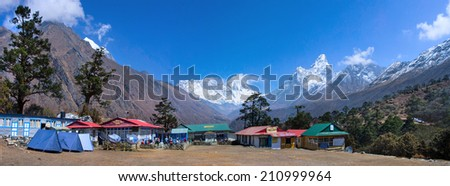 TENGBOCHE, NEPAL - MARCH 17:View from Tengboche Monastery(3860 Metres) on the trekking route to Everest Base Camp. Himalaya Mountains on March 17, 2014, Nepal.  - stock photo