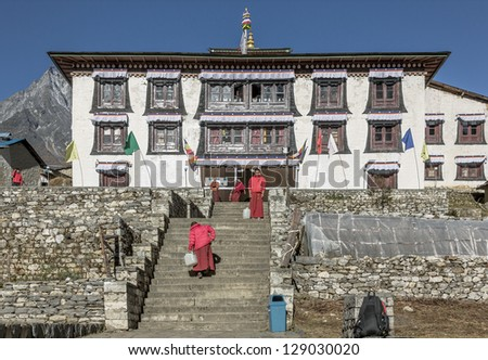 TENGBOCHE, NEPAL - OCTOBER 30: The main staircase of the monastery. Festival of Tengboche Monastery Practice and Masked Mani Rimdu Dances to the Khumbu region on October 30, 2012 in Tengboche