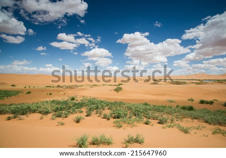 Tengger desert scenery,Inner Mongolia, China - stock photo