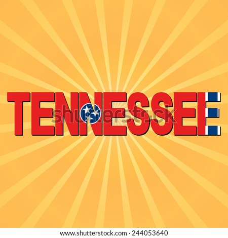 Tennessee flag text with sunburst illustration - stock photo