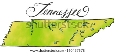 Tennessee map - stock photo