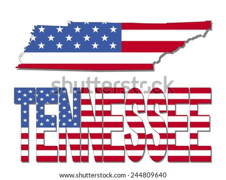 Tennessee map flag and text illustration - stock photo