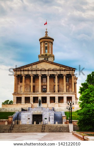 Tennessee State Capitol building in Nashville, TN in the evening - stock photo
