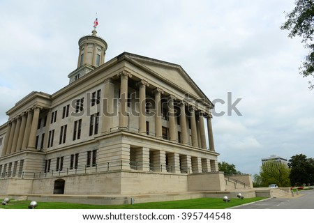 Tennessee State Capitol, Nashville, Tennessee, USA. This building, built with Greek Revival style in 1845, is now the home of Tennessee legislature and governor's office. - stock photo