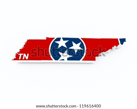 tennessee state flag on 3d map - stock photo