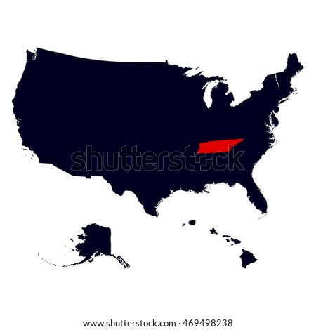 Map Us State Tennessee Stock Vector Shutterstock - Us map tennessee