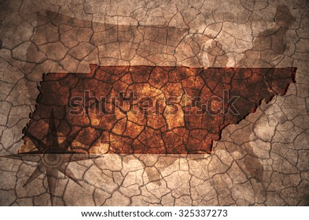 Tennessee State Map On Vintage Usa Stock Photo (Royalty Free ...