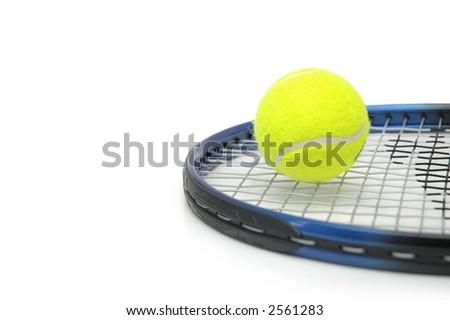 tennis and balls isolated on the white