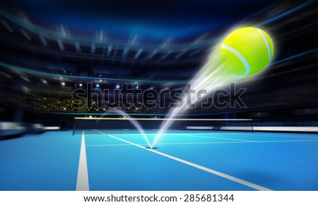 tennis ball ace strike on a blue court in motion blur tennis sport theme render illustration background - stock photo