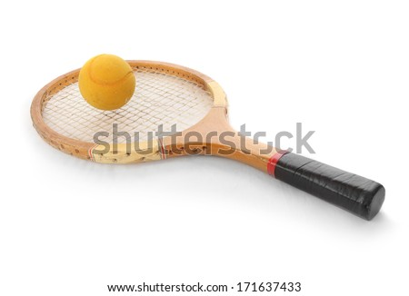 Tennis ball and racket from 1970s.