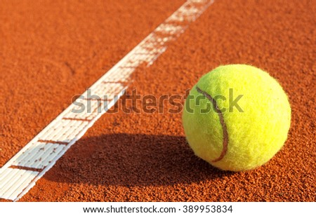 tennis ball and tennis court - stock photo