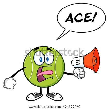 Tennis Ball Cartoon Mascot Character An Announcement Into A Megaphone With Speech Bubble And Text Ace. Raster Illustration Isolated On White - stock photo