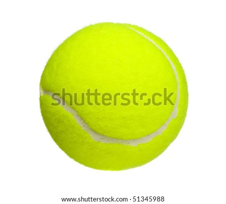 tennis ball close up isolated on white - stock photo