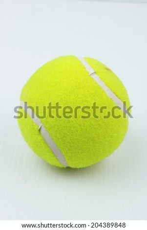 tennis ball close up on white