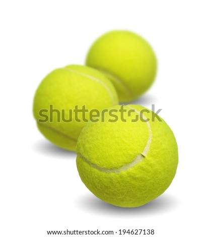 Tennis ball collection isolated on white background - stock photo
