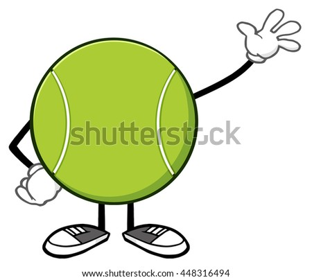 Tennis Ball Faceless Cartoon Mascot Character Waving. Raster Illustration Isolated On White Background