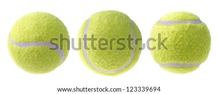 Tennis ball from different angles, isolated on white - stock photo