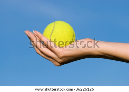 tennis ball in the hand