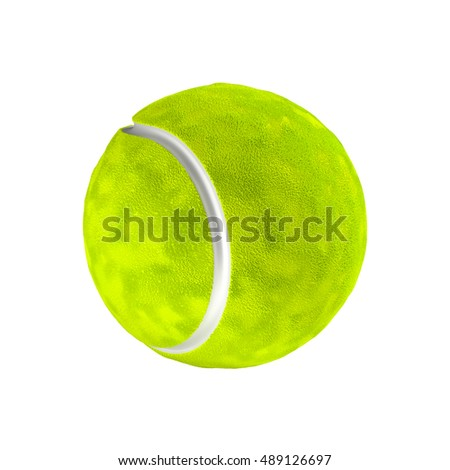 Tennis ball isolated on the white background without shadow. Detailed sport item with hairy texture.