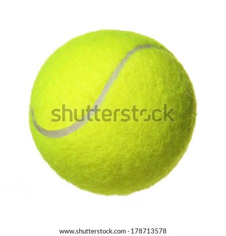 Tennis Ball isolated on white background. Closeup - stock photo