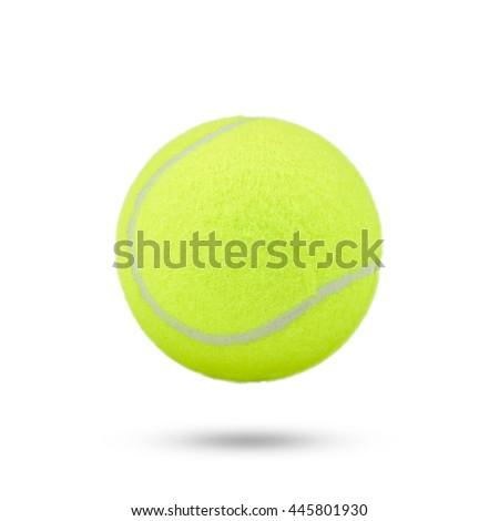 tennis ball isolated on white background. green color tennis ball. single tennis ball from Thailand vivid tone.  - stock photo