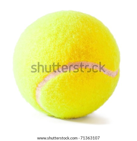 Tennis ball located on white background