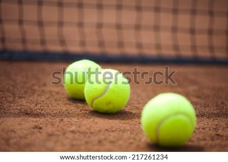 Tennis Ball on court - stock photo