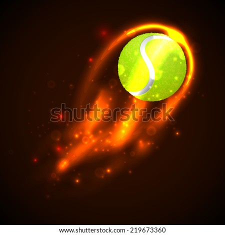 Tennis Ball on fire with particles.  illustration - stock photo