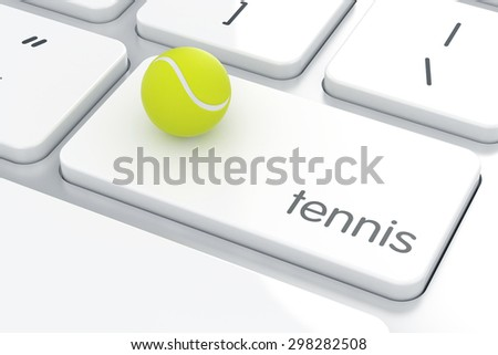 Tennis ball on the computer keyboard. Sport concept  - stock photo