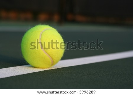 Tennis ball on the slanted line