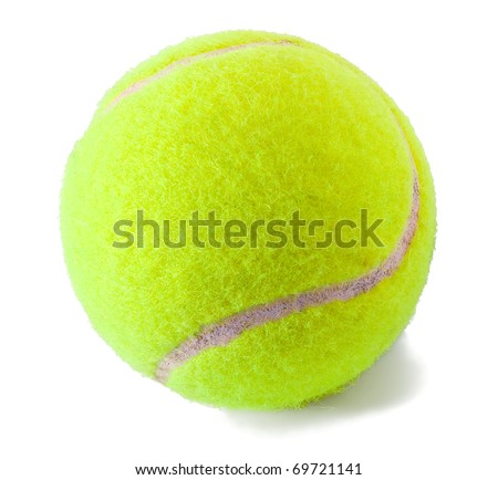 Tennis ball on the white background