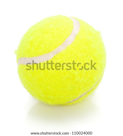 Tennis ball on white with reflection - stock photo