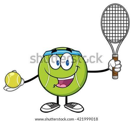 Tennis Ball Player Cartoon Character Holding A Tennis Ball And Racket. Raster Illustration Isolated On White - stock photo