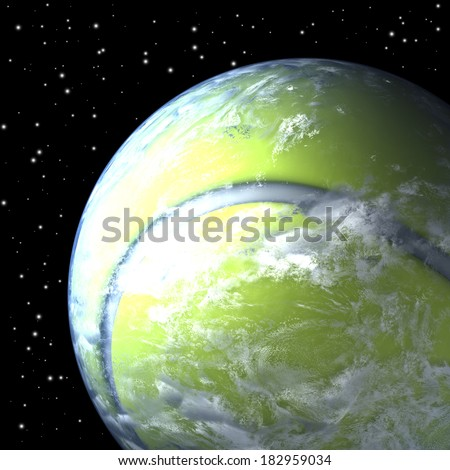 Tennis ball shaped planet earth free floating in space, 3d rendering - stock photo