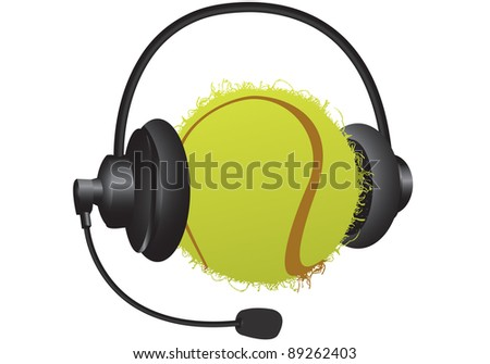 tennis ball with headphones on a white background