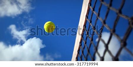Tennis balls on Court - stock photo