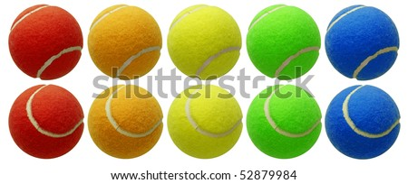 tennis balls set isolated on white background with clipping path - stock photo